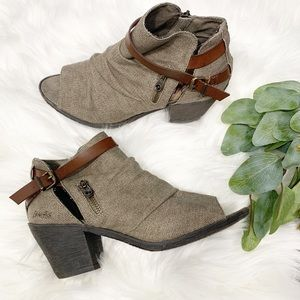 Blowfish Taupe Open-Toe Ankle Booties Size 9